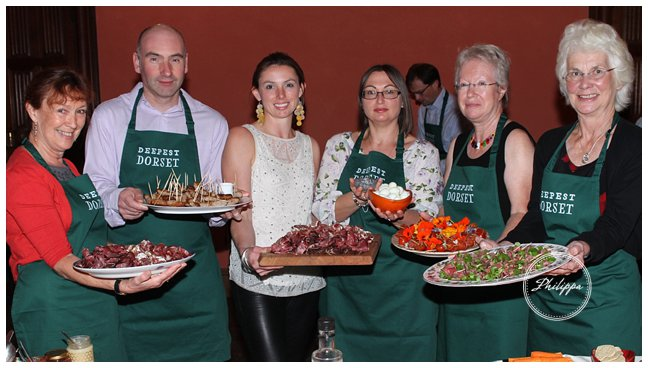 photograph by Hattie Miles ... 28.09.2016 ... Book launch of 'Deepest Dorset' at St Giles House, Wimborne St Giles ... Delicious food from around the county was enjoyed buy guests ... here are some of the catering team ready for the event.