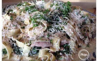Recipe | Pappardelle pasta with braised pheasant , cavolo nero, cream and nutmeg