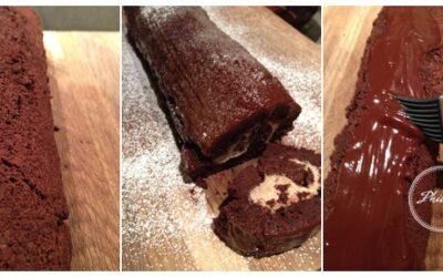 Chocolate, chestnut and ginger Yule Log