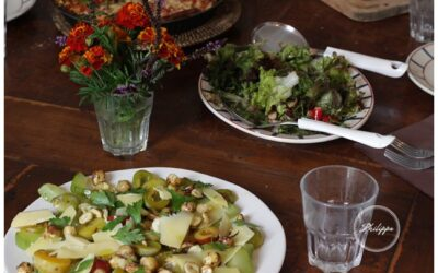 Toasted buttered cobnut salad with garden plums, steamed marrow and Comte cheese