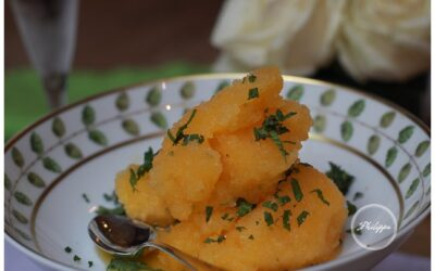 Clementine Sorbet with chilled vodka