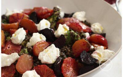 Recipe|Roast beetroot, Umbrian lentil, blood orange and honey ricotta salad