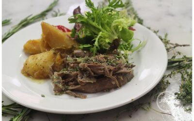 Slow cooked lamb in whisky with saffron and bay potatoes