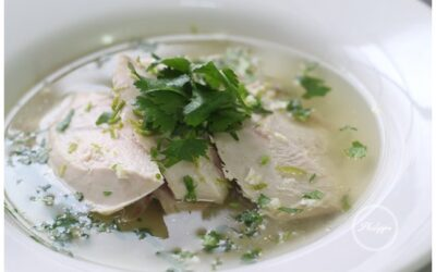 Poached pheasant with ginger, garlic, chilli and lime.