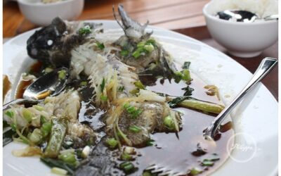 Steamed bass with ginger and soy recipe