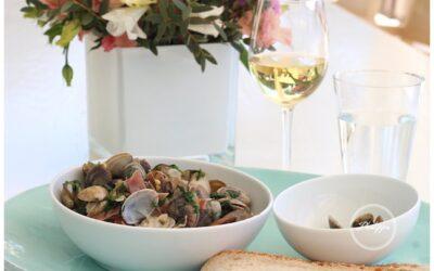 Clams with white wine, jamon and coriander recipe