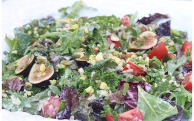 Grilled corn, fig and tomato salad with maple syrup and cheese dressing recipe